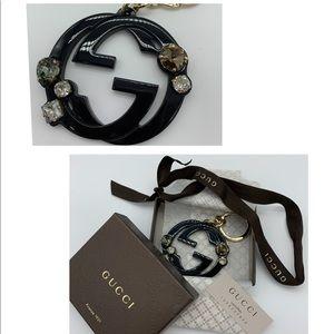 💜Rare💜Gucci Black Actate GGcrystals keychain